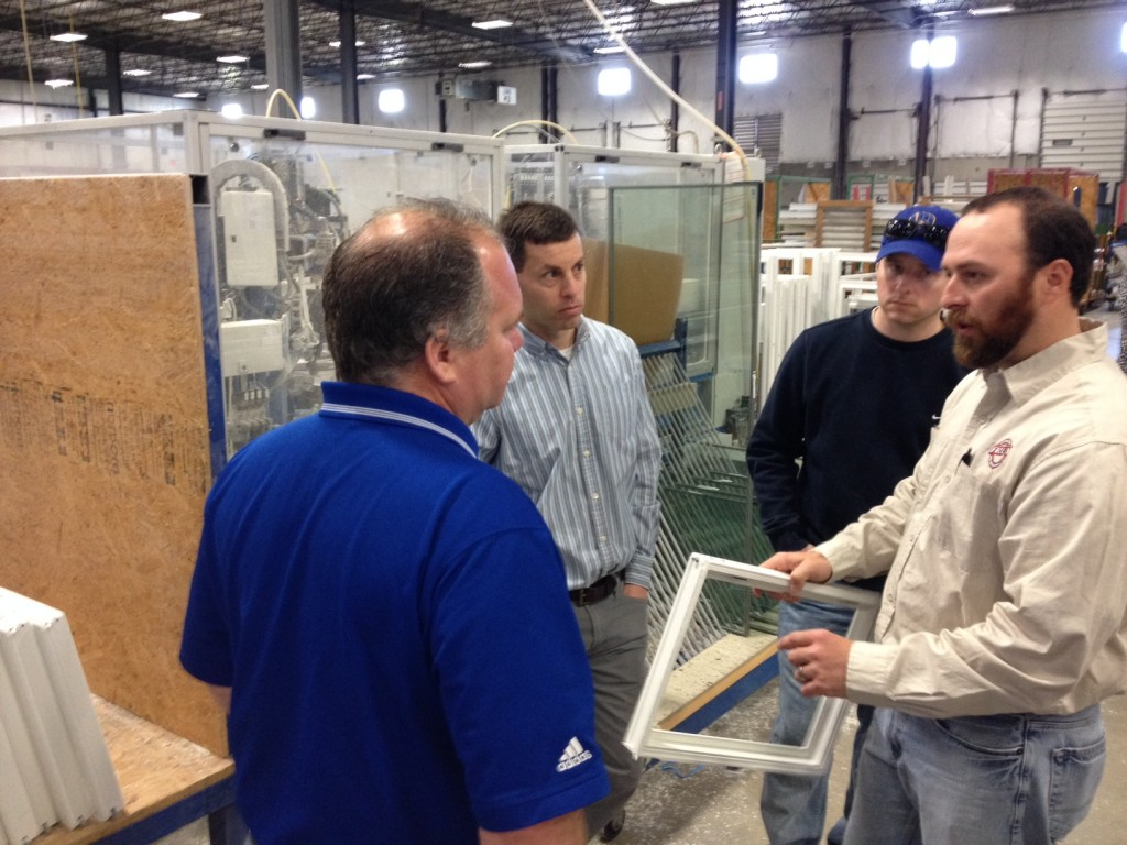 Scott Frey and our Window Division Manager, Mark Frey getting a tour and in-depth view at how our Sherwood Windows are made.