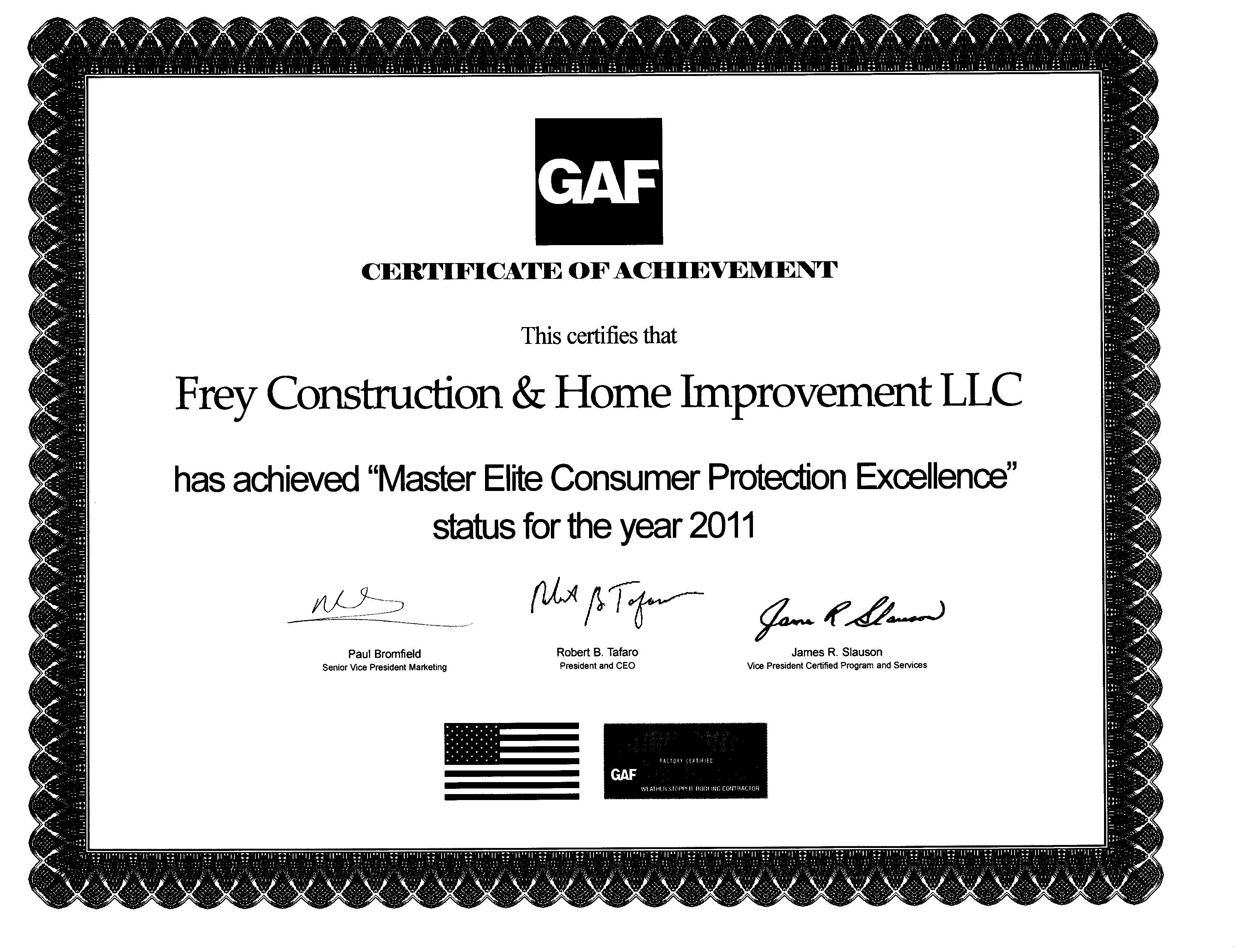 GAF Consumer Protection Excellence 2011