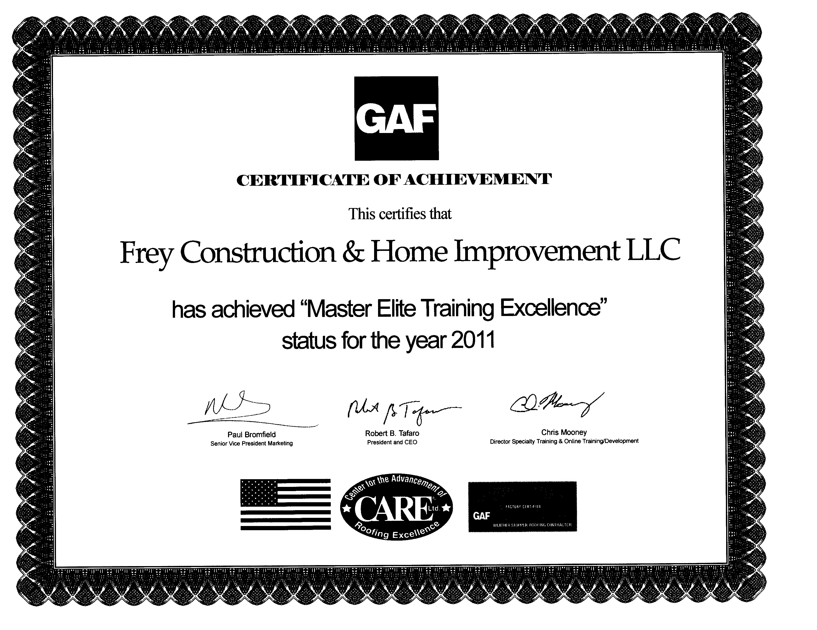 GAF Installation Excellence Award 2011